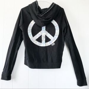 VS Pink Black Bedazzled Peace Sign Hoodie